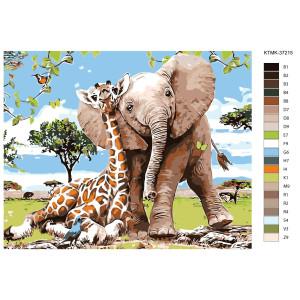 "Malen nach Zahlen ""Giraffe mit Elefant"",..."