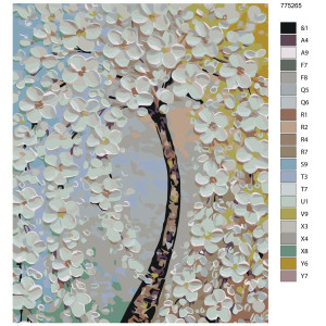 """Paint by Numbers """"Tree with white flowers"""",..."""