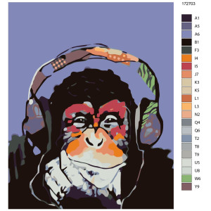 """Paint by Numbers """"Monkey with headphones"""",..."""