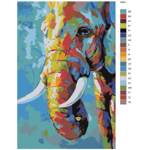 """Paint by Numbers """"Colored elephant"""", 40x60cm, A501"""