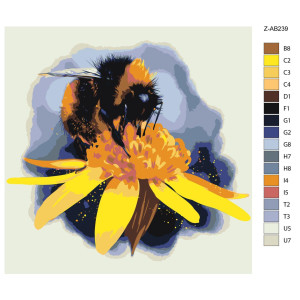 """Paint by Numbers """"Bee on a flower"""", 40x40cm,..."""