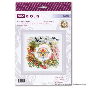 "Riolis Kreuzstich Set ""Kompass"", Zahlmuster,..."