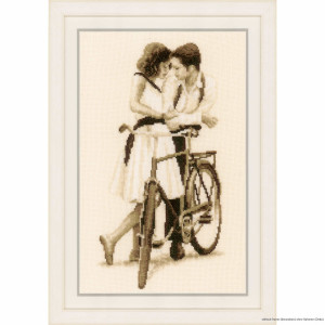 """Vervaco cross stitch kit """"Couple with bicycle"""",..."""