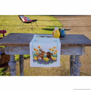 """Vervaco table runner cross stitch kit """"Rabbits with..."""