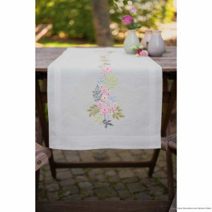 """Vervaco table runner satin stitch kit """"Flowers and..."""