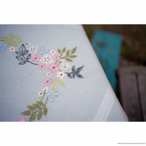 """Vervaco tablecloth satin stitch kit """"Flowers and..."""