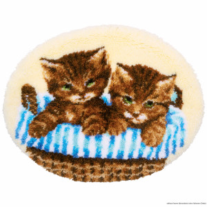 """Vervaco Latch hook kit shaped rug """"Kittens in..."""