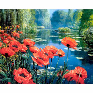 """CdA Diamond Embroidery Kit """"Poppies by the..."""