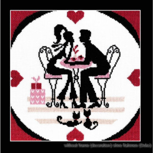 """Oven counted cross stitch kit """"In the cafe"""",..."""