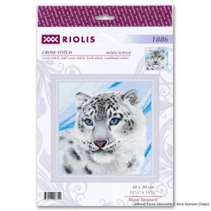Riolis Counted cross stitch kit Snow Leopard 30x30cm, DIY