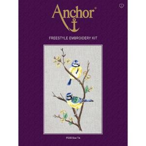"Anchor stamped Satin Stitch kit ""Blue Tits"", DIY"