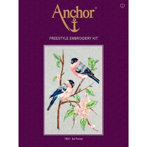 "Anchor stamped Satin Stitch kit ""Bullfinches"", DIY"