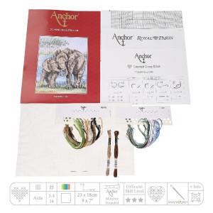 "Anchor Kreuzstich-Set ""Elefanten"", Zählmuster"