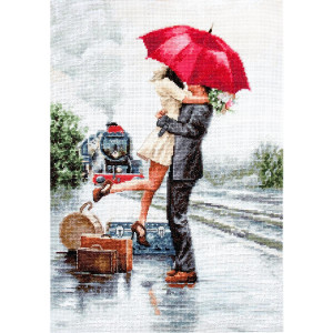 """Luca-S counted Cross Stitch kit """"Couple on train..."""