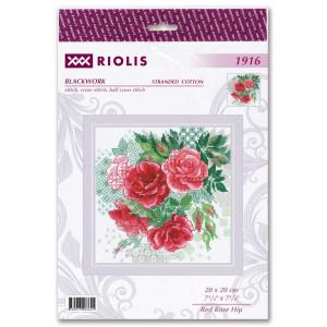 """Riolis Blackwork Stickset """"Rote Hagebutten""""..."""