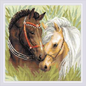 "Riolis Diamanten Malerei  ""Paar Pferde""; 40x40cm"