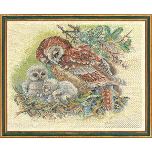 """Eva Rosenstand counted cross stitch kit """"Owl with..."""