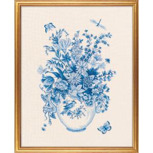 """Eva Rosenstand Kreuzstich Set """"Blaue Blumen 2"""",..."""