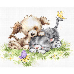"""Luca-S counted cross stitch kit """"Dog and cat with..."""