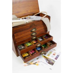 DMC vintage Holzkasten mit 5 Schubladen, Sticktwist in...
