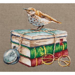 """Panna counted cross stitch kit """"Booklover (gray..."""