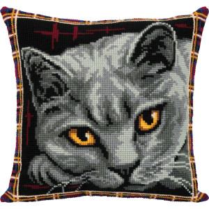 "Panna counted cross stitch cushion kit ""British blue..."