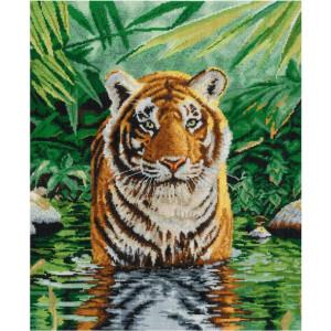 "DMC counted cross stitch kit ""Tiger Pool"",..."
