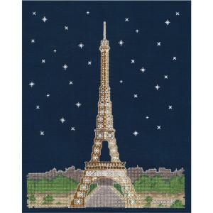 "DMC Kreuzstich Set ""Paris bei Nacht"" leuchtet..."