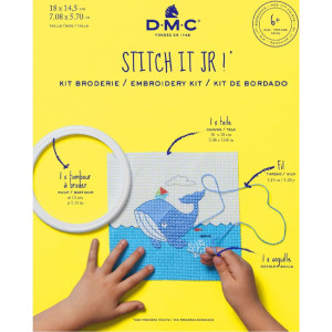 """DMC stamped half stitch kit with plastic hoop """"Whale..."""