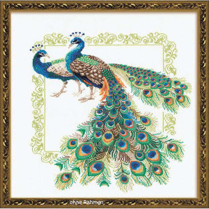 Riolis counted cross stitch Kit Peacocks, DIY