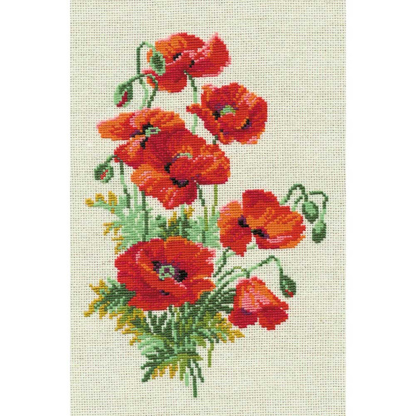 Riolis counted cross stitch Kit Wild Poppies, DIY
