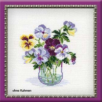 Riolis counted cross stitch Kit Pansies, DIY