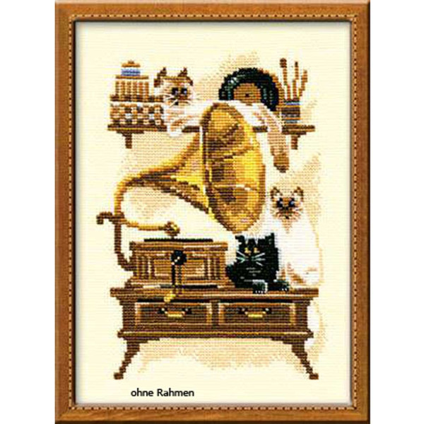 Riolis counted cross stitch Kit Cat with Gramaphone, DIY