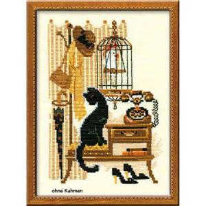 "Riolis Kreuzstich-Set ""Katze mit Telefon"",..."