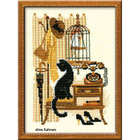 Riolis counted cross stitch Kit Cat with Telephone, DIY