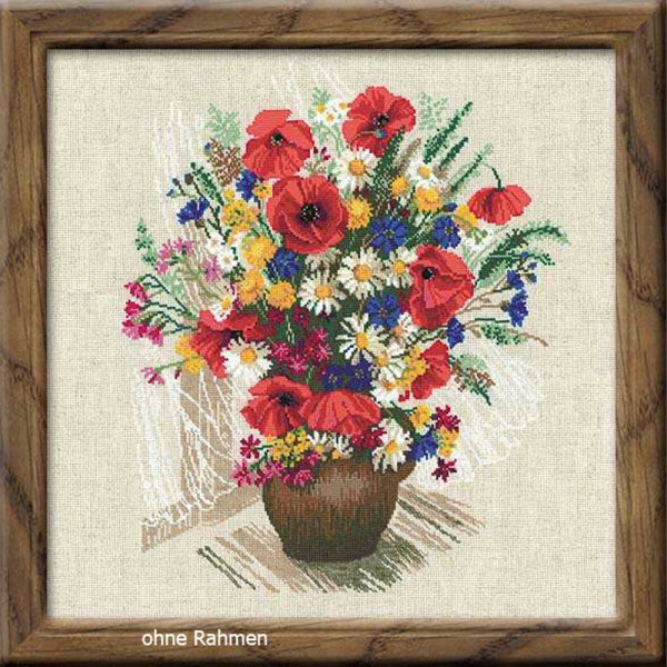 """Riolis counted cross stitch kit """"Summer Flowers and Poppies"""", counted, DIY"""