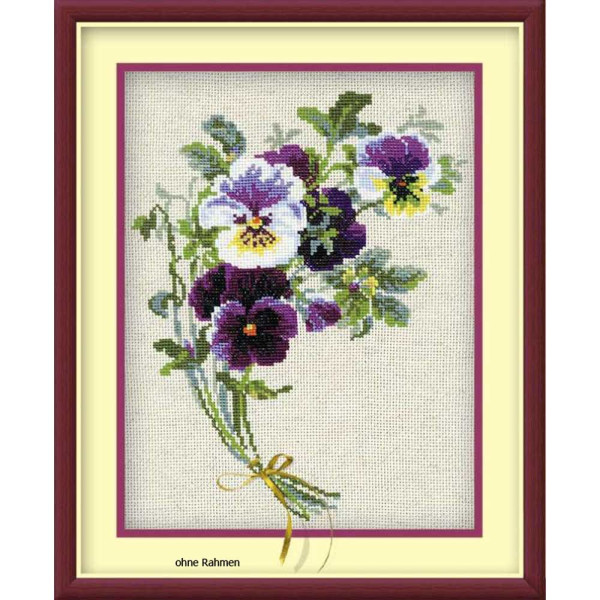 Riolis counted cross stitch Kit Bunch of Pansies, DIY