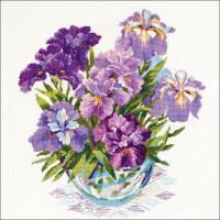 Riolis Stickpackung - Lila Blumen in Vase, Zählmuster