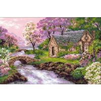Riolis Stickpackung Cottage am Fluss, gezählter Kreuzstich, Zählmuster