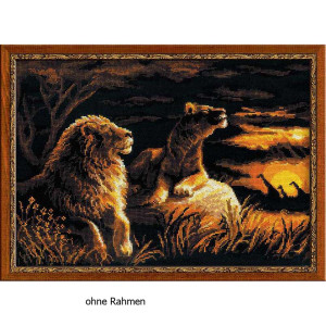Riolis counted cross stitch Kit Lions in the Savannah, DIY