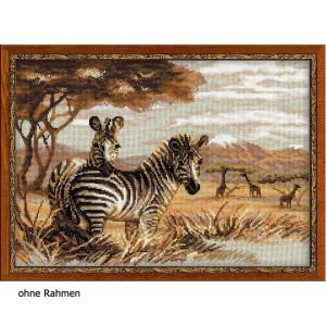"""Riolis Kreuzstich-Set """"Zebras in der Savanne"""",..."""