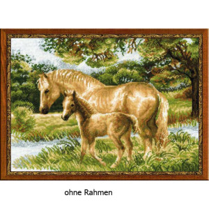 Riolis counted cross stitch Kit Horse with Foal, DIY