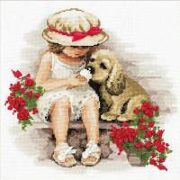 Riolis Stickpackung Mädchen mit Hund, gezählter Kreuzstich, Zählmuster