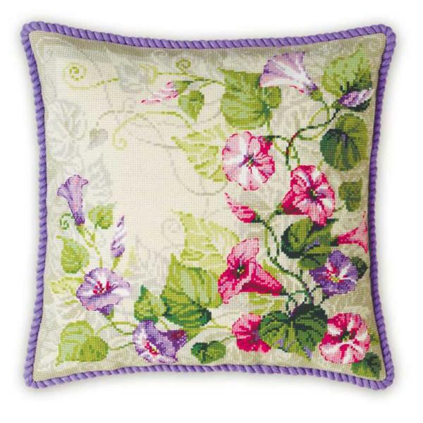 Riolis counted cross stitch Kit Pastel Bindweed Cushion, DIY