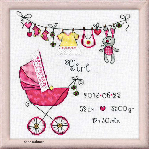 Riolis counted cross stitch Kit Its a Girl!, DIY