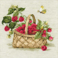Riolis counted cross stitch Kit Basket with Raspberries, DIY