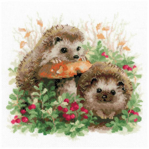 Riolis counted cross stitch Kit Hedgehogs in...