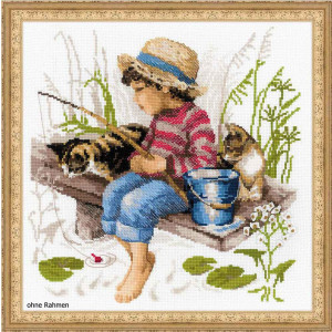 Riolis counted cross stitch Kit Lets Go Fishing, DIY