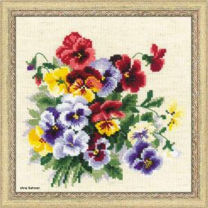 Riolis counted cross stitch Kit Pansy Medley, DIY