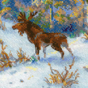 Riolis counted cross stitch Kit Moose in a Winter Forest...